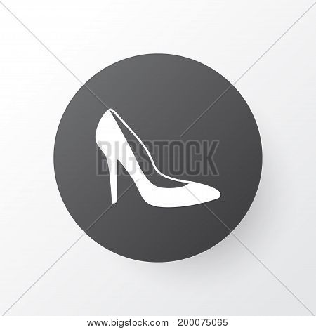 Premium Quality Isolated Heel Footwear Element In Trendy Style.  Woman Shoe Icon Symbol.