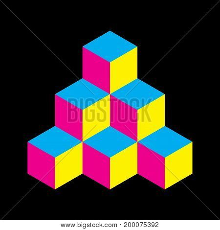 Pyramid of cubes in CMYK colors. 3D vector illustration isolated on white background.