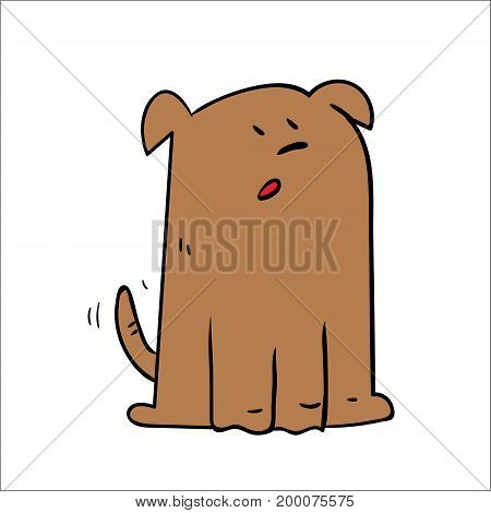 A cartoon dog looking shocked surprised. On white background isolated
