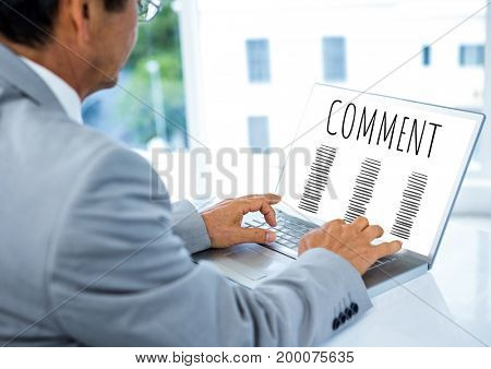 Digital composite of Comment text and graphic on laptop screen with hands