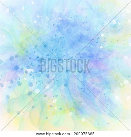 Abstract Colorful Grunge Blue-green Background. Watercolor Imitation Vector Texture