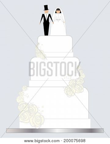 an illustration of a white decorated wedding cake with multi layers and a bride and groom with white roses