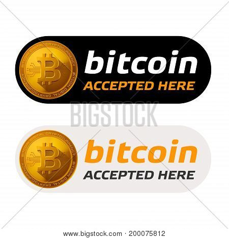 bitcoin accepted sign emblem, sign. vector illustration.