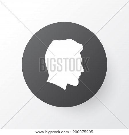 Premium Quality Isolated Male Element In Trendy Style.  Gentleman Head Icon Symbol.