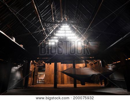 Inside 100 years old traditional batak house. Samosir Island Sumatra Indonesia.