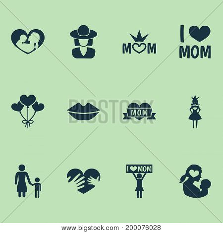 Mothers Day Icon Design Concept. Set Of 12 Such Elements As Loving, Decoration And Mouth
