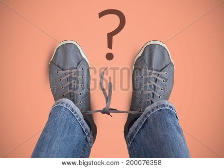 Digital composite of Question mark and Grey shoes on feet with pink background