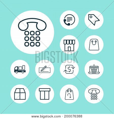 Ecommerce Icons Set. Collection Of Price Stamp, Recurring Payements, E-Trade And Other Elements