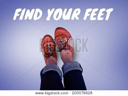 Digital composite of Find your feet text and Red shoes on feet with purple background