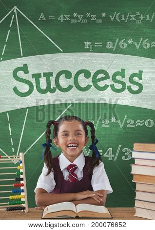 Digital composite of Happy student girl at table against green blackboard with success text and education and school icon