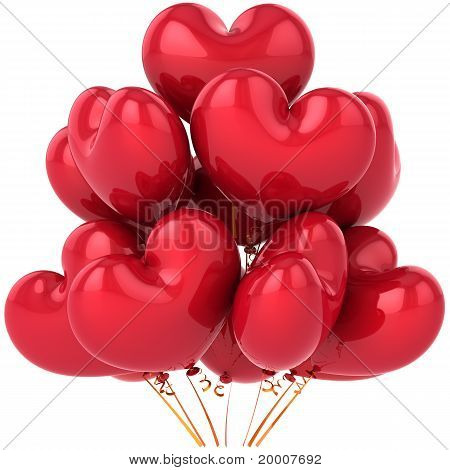 Party balloons red heart shaped birthday decoration