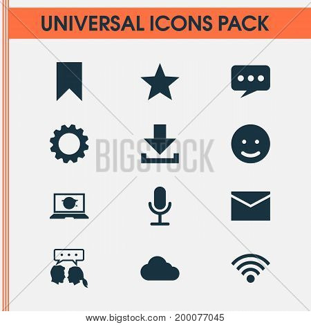Media Icons Set. Collection Of Conversation, Smile, Overcast And Other Elements