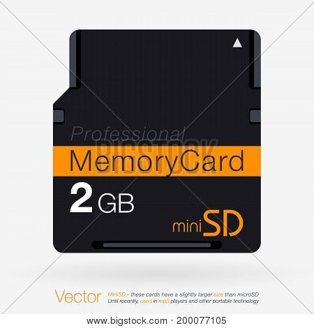 Top View Of Mini Sd. Memory Card Isolated On White Background
