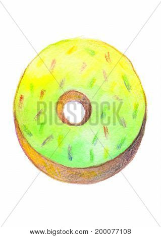 Donut with light green glaze painted with a watercolor