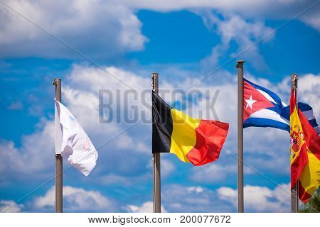 View of the flags Vinales Pinar del Rio Cuba. Close-up