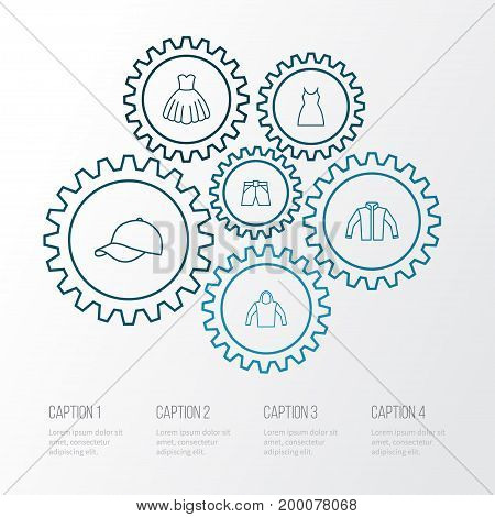Garment Outline Icons Set. Collection Of Dress, Gown, Cardigan And Other Elements