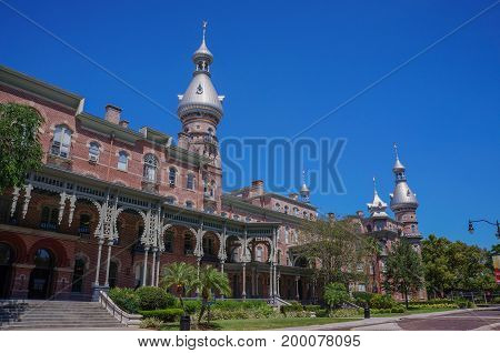 Student walking at the campus of University of Tampa in Tampa, Florida, United States, April 28, 2017