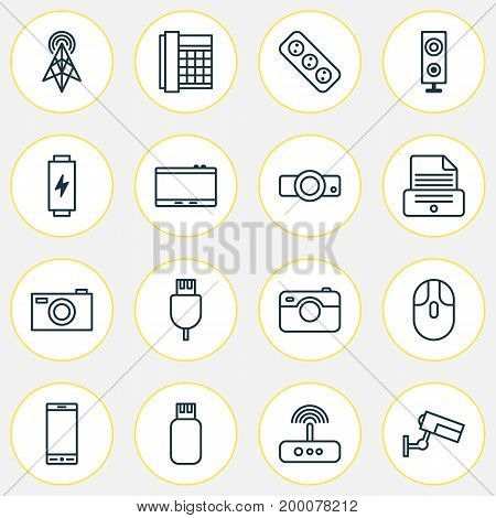 Hardware Icons Set. Collection Of Usb, Universal Serial Bus, Telephone And Other Elements