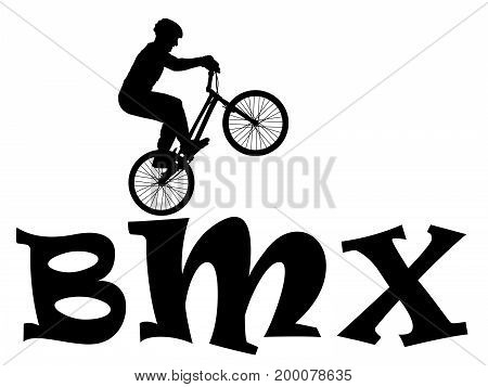 Cyclist rider bmx performs trick jump logo silhouette vector