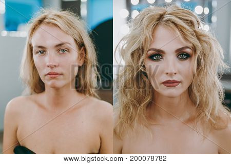 Makeup And Hairstyle For The Girl Before And After
