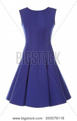 Little blue dress with rhinestones isolated on white