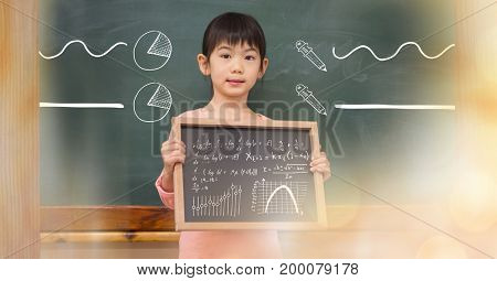 Digital composite of Little girl holding blackboard with math equations and diagrams