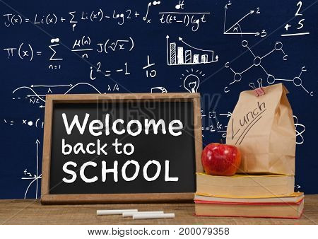 Digital composite of Welcome back to school Desk foreground with blackboard graphics of math equations