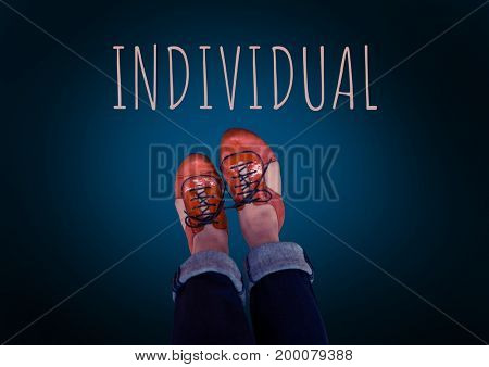 Digital composite of Individual text and red shoes on feet with blue background
