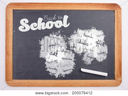 Digital composite of school subjects and back to school text on blackboard