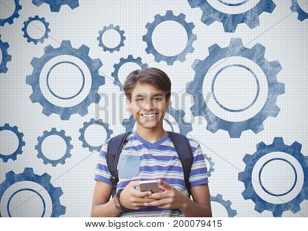 Digital composite of Student holding phone in front of settings gears cog
