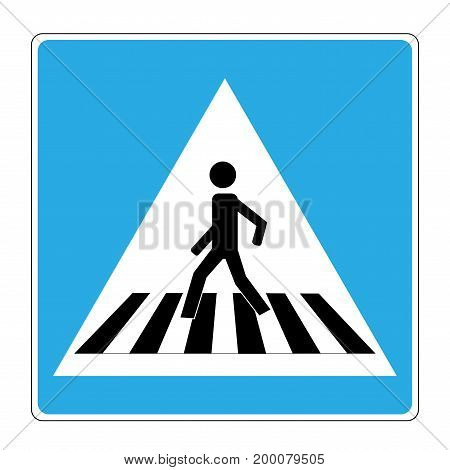 Crosswalk sign black on white triangle. Icon a pedestrian place for child near school. Symbol safety traffic human on road. Label for banner about crossing way. Design element. Vector illustration