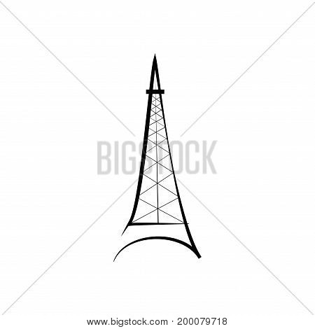 Eiffel tower sign. Black isolated silhouette on white background. Eiffel Tower as symbol of Paris and love. Template for t shirt apparel card poster. Design flat element. Vector illustration