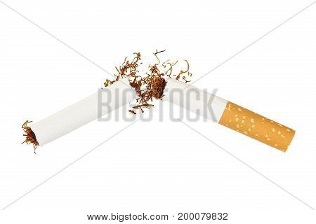 broken cigarette isolated on white quit smoking concept