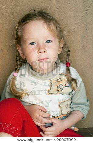 Girl On Abstract Background
