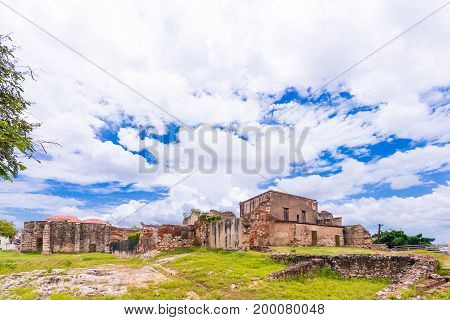 View on ruins of the Franciscan Monastery Santo Domingo Dominican Republic. Copy space for text