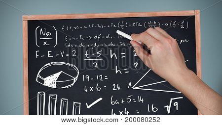 Digital composite of Hand writing equations on blackboard