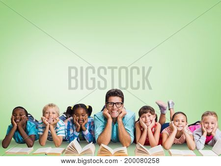 Digital composite of Multicultural Kids reading with teacher