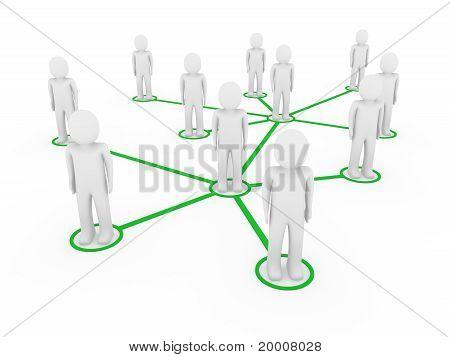 3D Men Network Social Green
