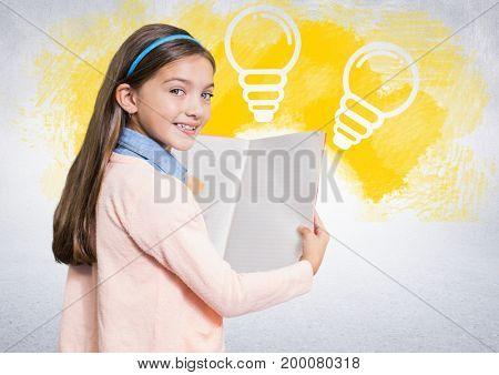Digital composite of Girl reading book in front of lightbulbs