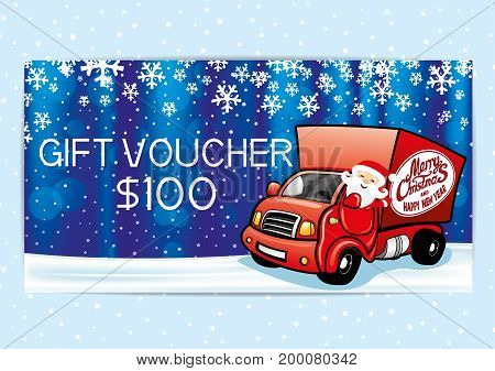 Gift voucher with Santa Claus on a blue background.
