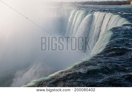 Niagara Falls Canadian Horseshoe Fall close-up. Natural landmark Ontario Canada