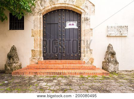 View of the old wooden door Santo Domingo Dominican Republic. Copy space for text