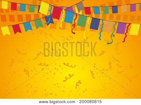 Festive orange background with flags and confetti.