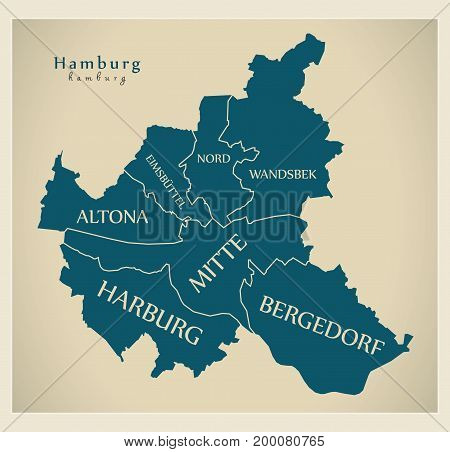Modern City Map - Hamburg City Of Germany With Boroughs And Titles De