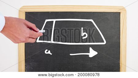 Digital composite of Hand drawing diagram on blackboard