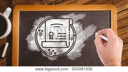 Digital composite of Hand drawing certificate on blackboard