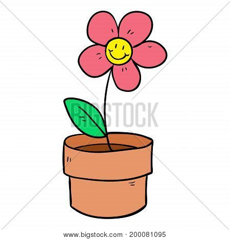illustration of a flower plant in a pot on a white background