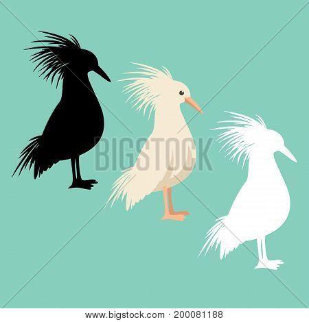 kagu bird vector illustration style flat black silhouette
