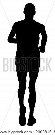 back young man runner athlete running illustration