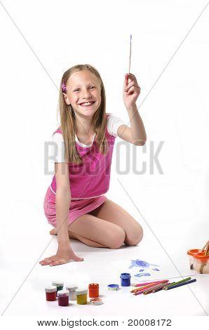 Girl With Brush On White Background